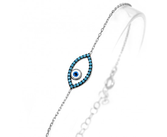 Evil Eye Bracelet with Enameled Evil Eye