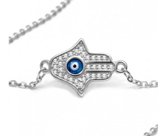 Hamsa Bracelet with Evil Eye Hand of Fatima