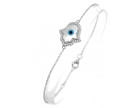 Hamsa Bracelet with Mother of Pearl Hamsa Evil Eye