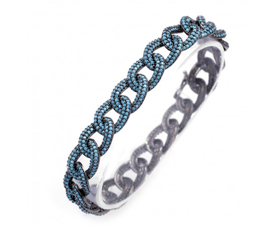 Luxury Chain Link Bracelet with Nano Turquoise Stones