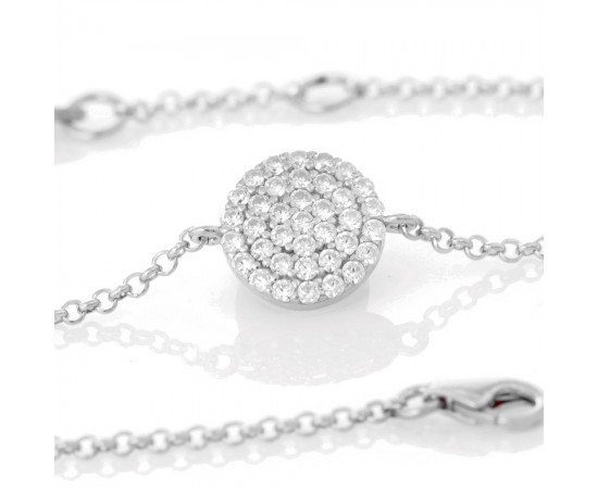 Silver Bracelet with Diamond Simulated Cz Stones