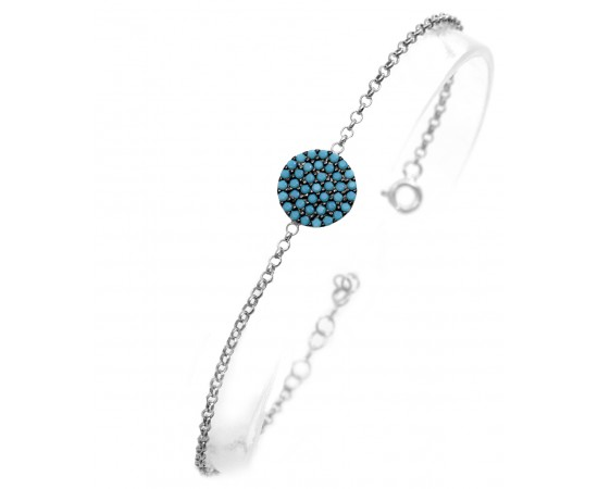 Silver Bracelet with Nano Turquoise Stones Disk