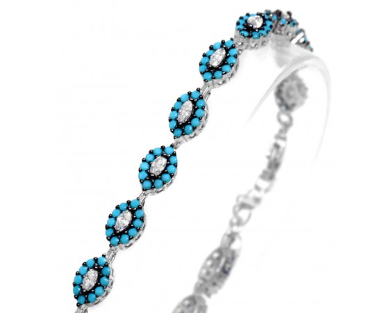 Silver Bracelet with Nano Turquoise Stones