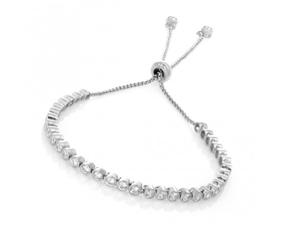 Silver Bracelet with Simulated Diamond Stones