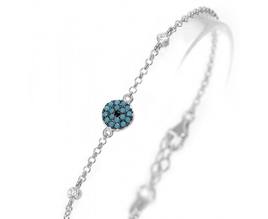 Sterling Silver Bracelet with Nano Turquoise Stones