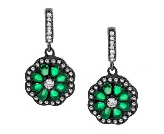 Antique Style Inspired Emerald Earrings