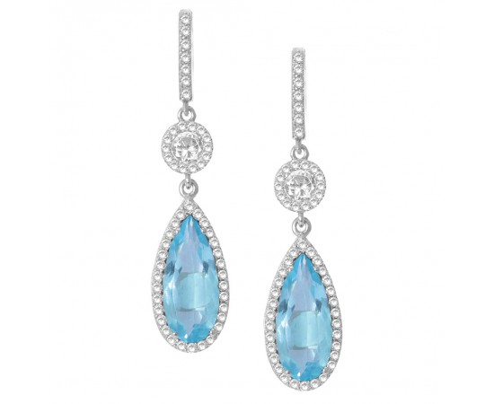 Blue Topaz Quartz Silver Earrings
