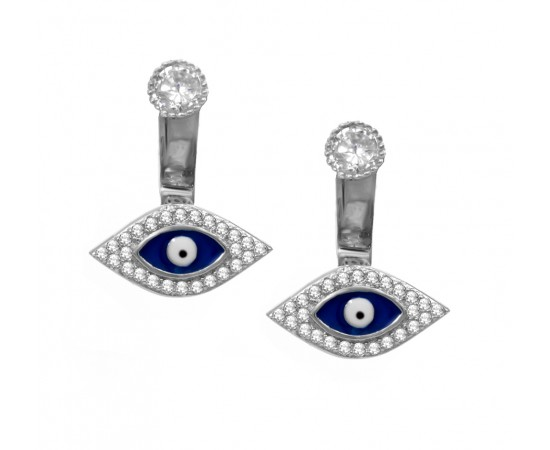 Evil Eye Earrings with Enamel Evil Eyes