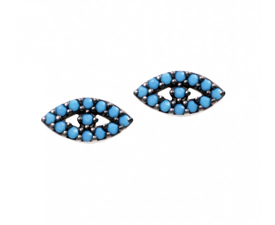 Evil Eye Earrings with Nano Turquoise Stones