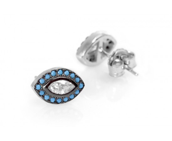 Evil Eye Earrings with Turquoise Stones