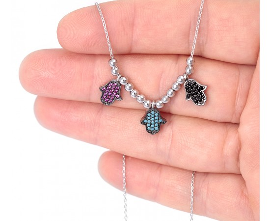 Hamsa Necklace Multicolor