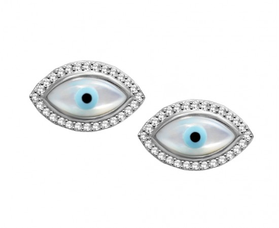 Mother of Pearl Evil Eye Earrings with Cz Stones