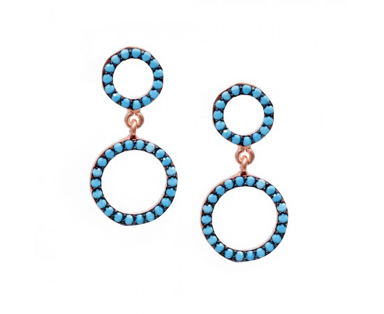 Nano Turquoise Gemstone Circle Earrings