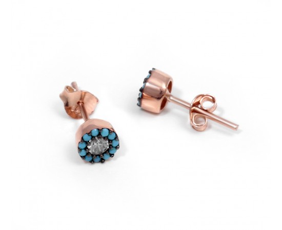 Silver Earrings with Nano Turquoise and Clear Cz Stones