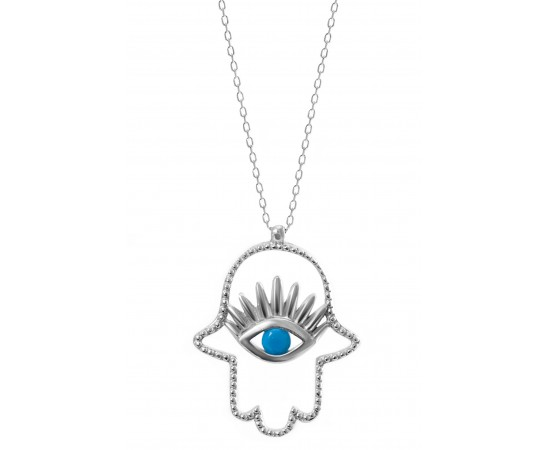 Silver Hamsa Necklace with Turquoise Stone