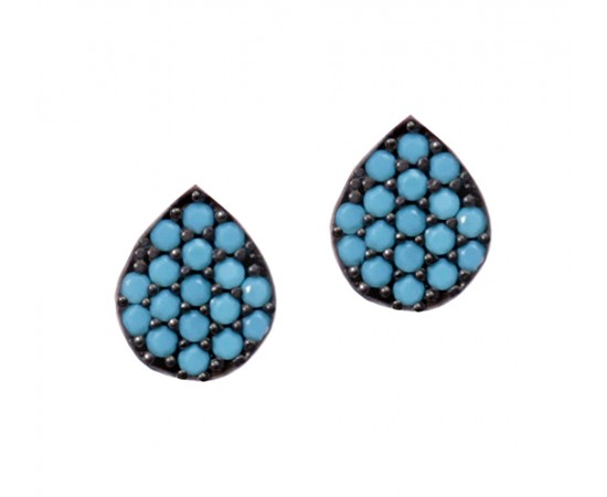 Sterling Silver Earrings with Nano Turquoise Stones