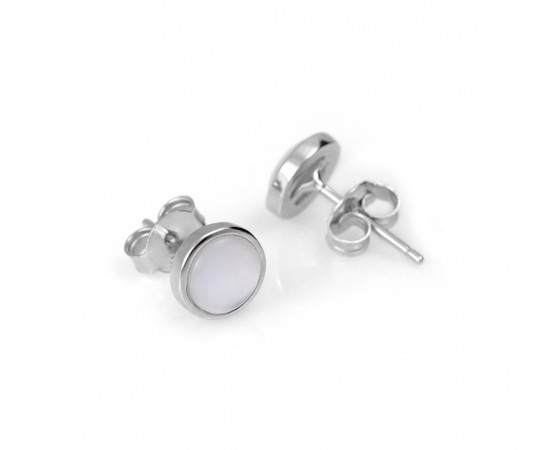 Sterling Silver Stud Earrings with Mother of Pearl