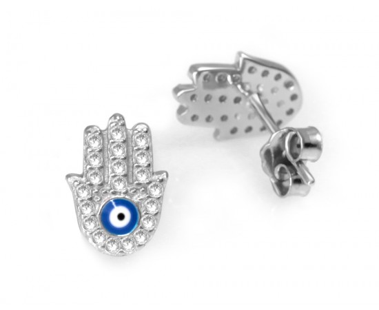 Tiny Hamsa Earrings with Evil Eye