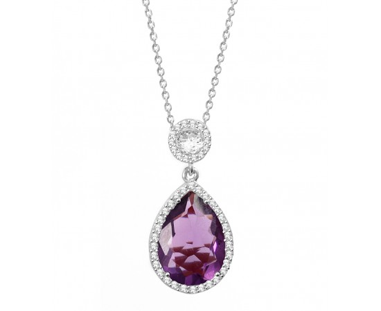 Amethyst Quartz Silver CZ Necklace
