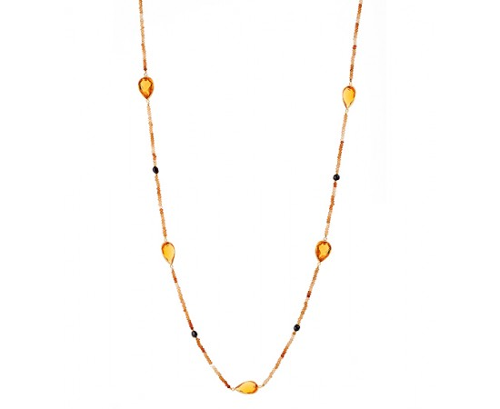 Artisan Gemstone Citrine CZ Necklace