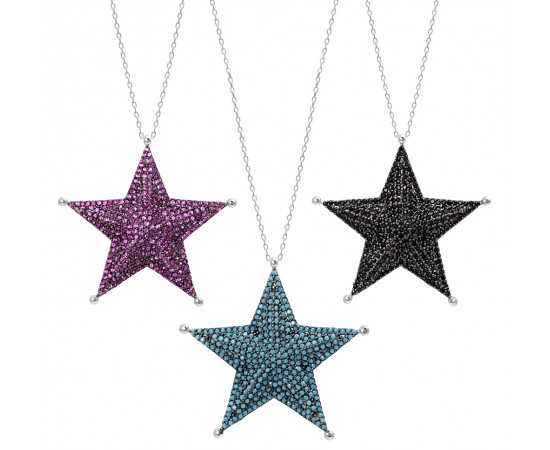 Big Star Necklace with Cz Stones