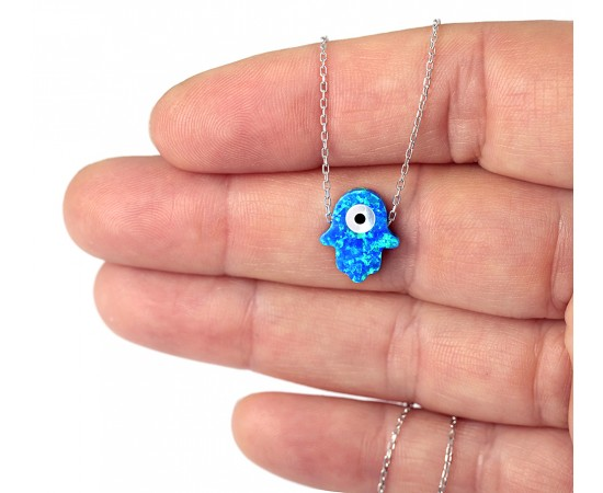 Blue Opal Hamsa Necklace with Evil Eye