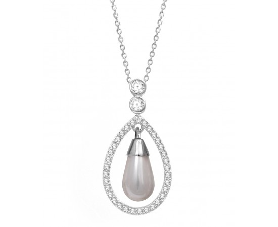 Celebrity Inspired Pearl CZ Necklace