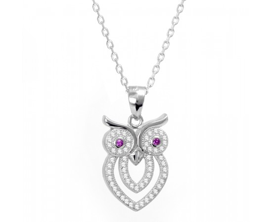 Celebrity Inspired Silver Owl Necklace