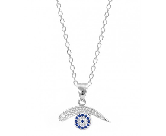 Crystal Saphire Necklace with Evil Eye Charm