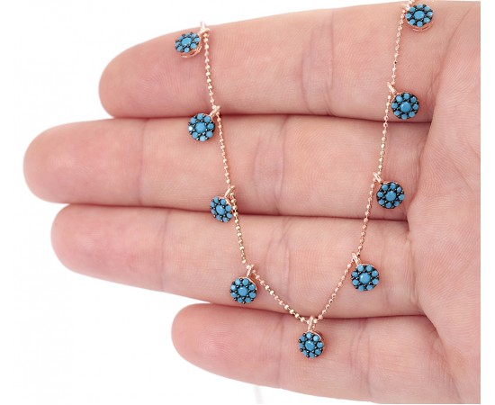 Dainty Coin Necklace with Turquoise Stones