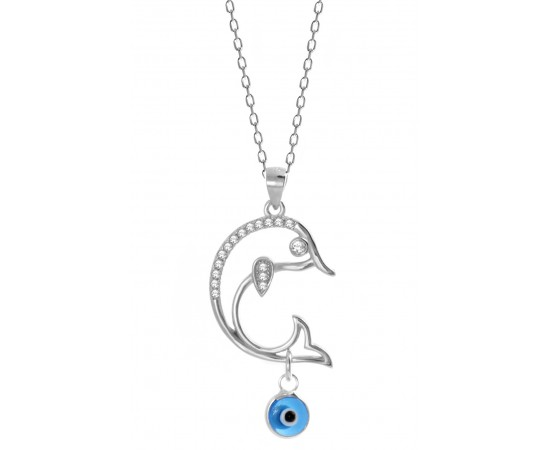 Dolphin Necklace with Evil Eye