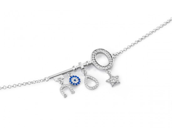 Evil Eye Charm Key Necklace