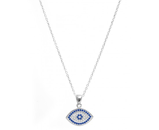 Evil Eye Necklace with Blue and Clear Cz Stones