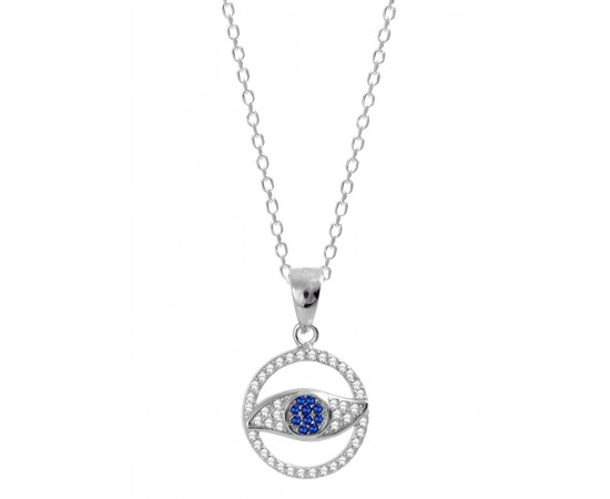 Evil Eye Necklace with Cubic Zirconia Stones