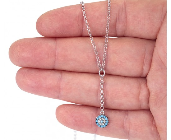 Evil Eye Necklace with Nano Turquoise Stones