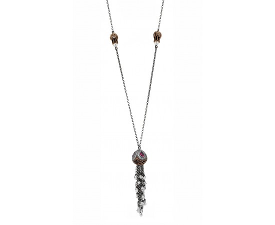 Gemstone Silver Tassel Necklace