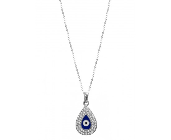 Greek Mati Necklace with Enamel Evil Eye and Cz Stones