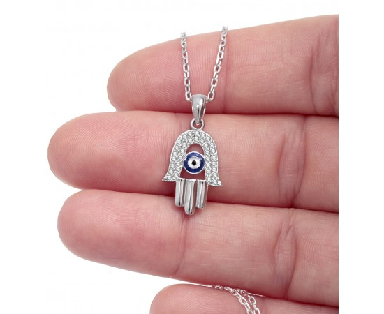 Hamsa Hand Necklace with Evil Eye