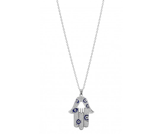 Hamsa Hand Necklace with Multi Lucky Eye