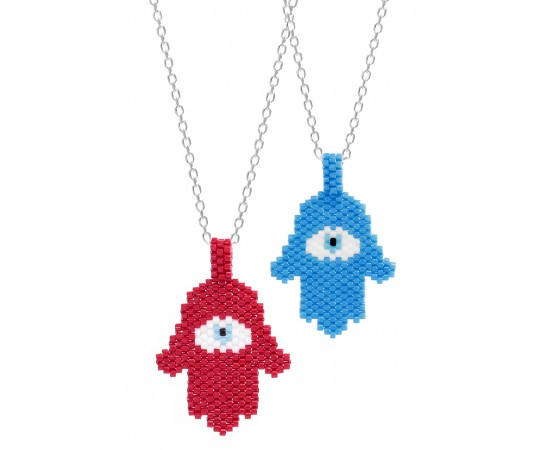 Hamsa Hand Necklace With Seed Beads By Evil Eye Store