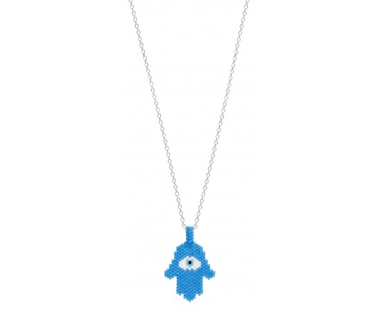 Hamsa Hand Necklace with Seed Beads