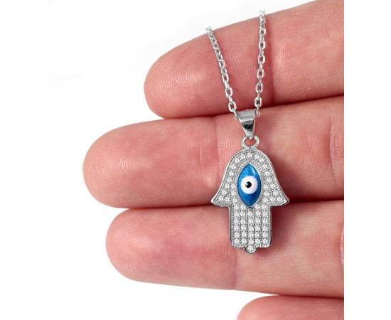Hamsa Necklace with Enameled Eye