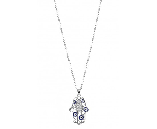 Hamsa Necklace with Evil Eyes