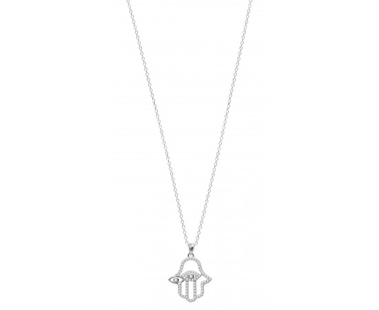 Hand Necklace with Cz Stone