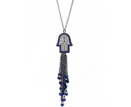 Hand of Fatima Evil Eye Protection Tassel Necklace