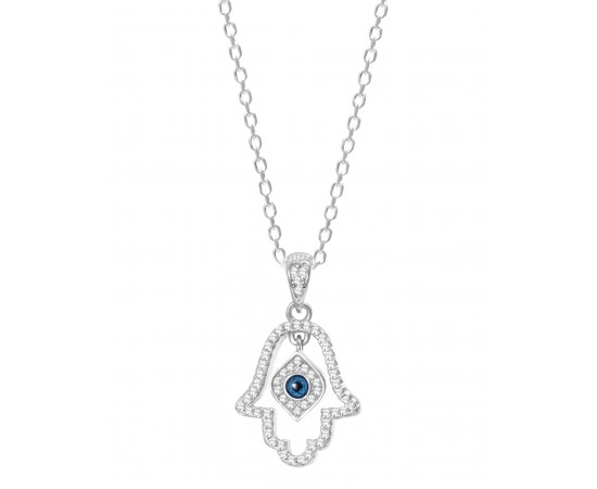 Hand of Fatima Necklace with Evil Eye