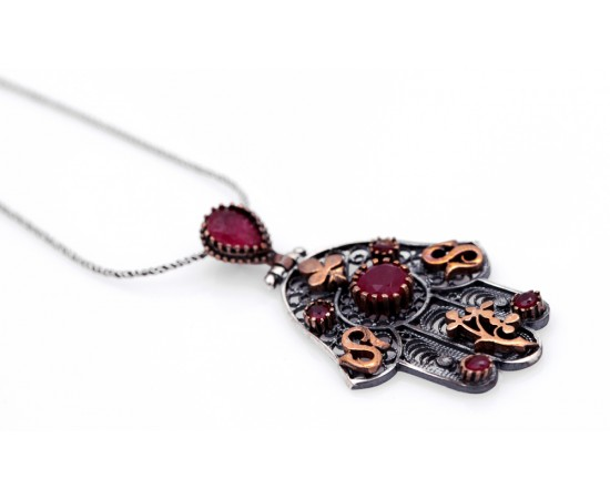 Hand of Fatima Ruby Necklace