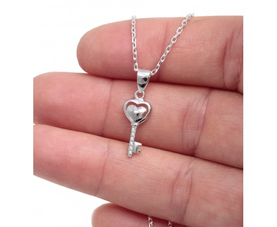 Heart Key Necklace with Cz Stones