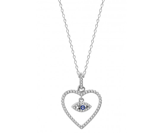 Heart Pendand Necklace with Evil Eye Charm