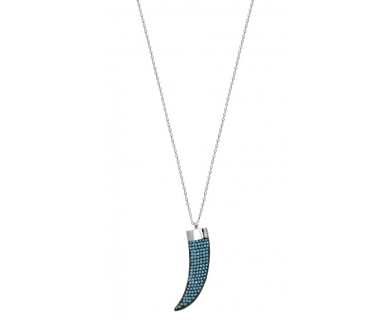 Italian Horn Necklace with Nano Turquoise Stones